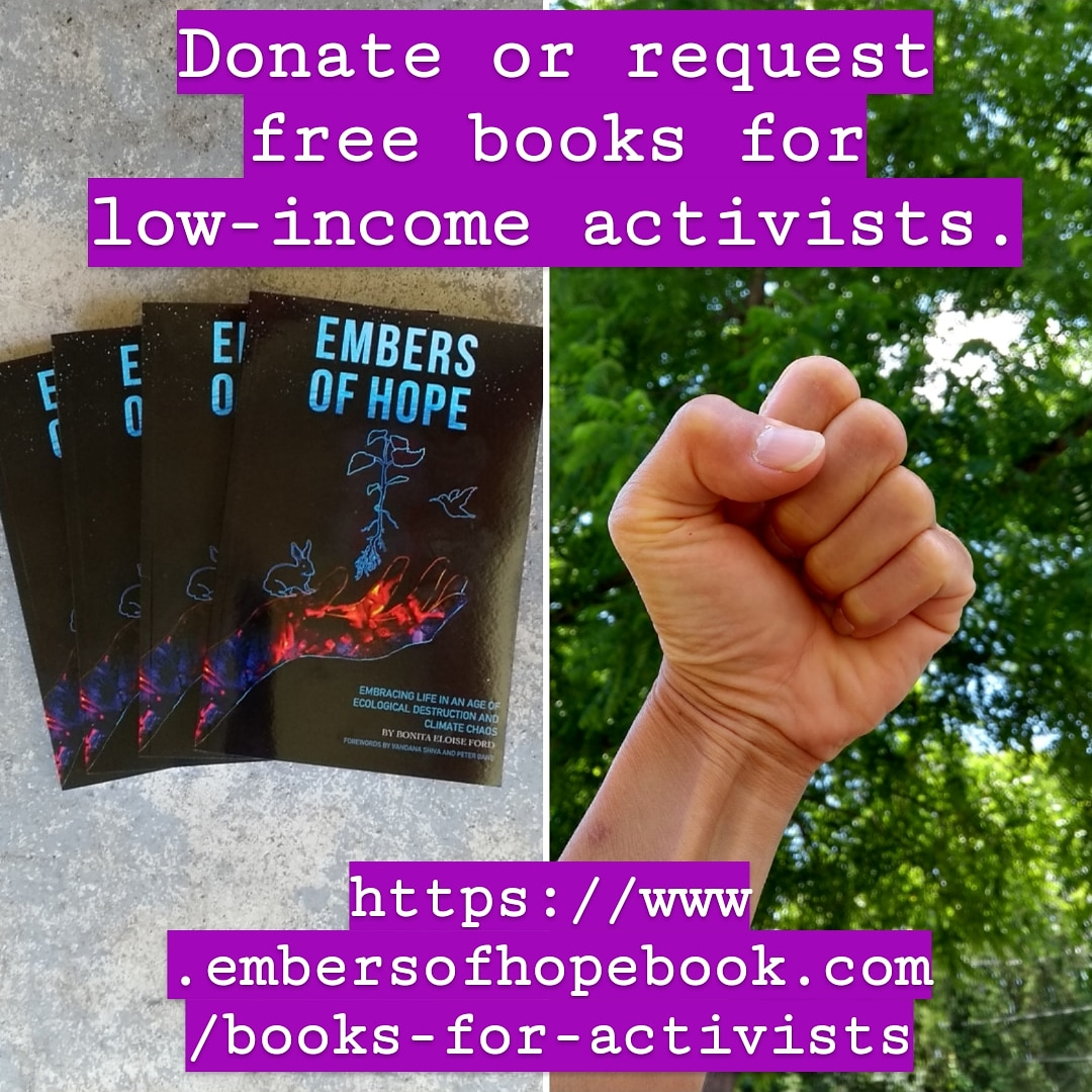 """Embers of Hope"" book. Donate or request free books for low-income activists."
