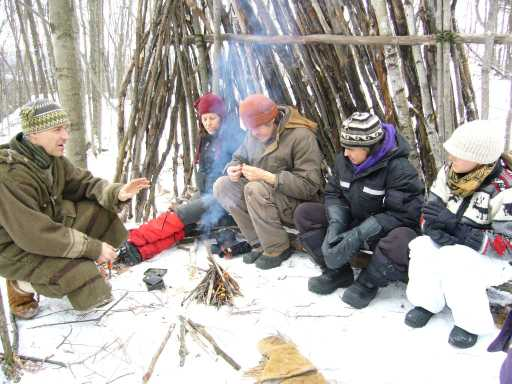 lean to shelter and fire, winter wilderness skills workshop