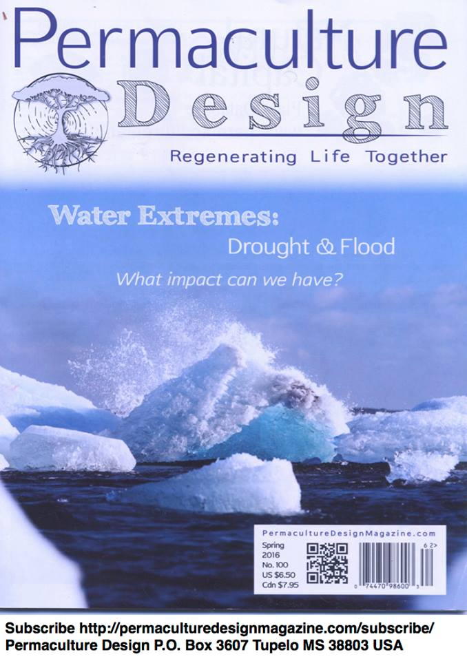 Permaculture Design Magazine cover on Water Extremes: Drought & Flood