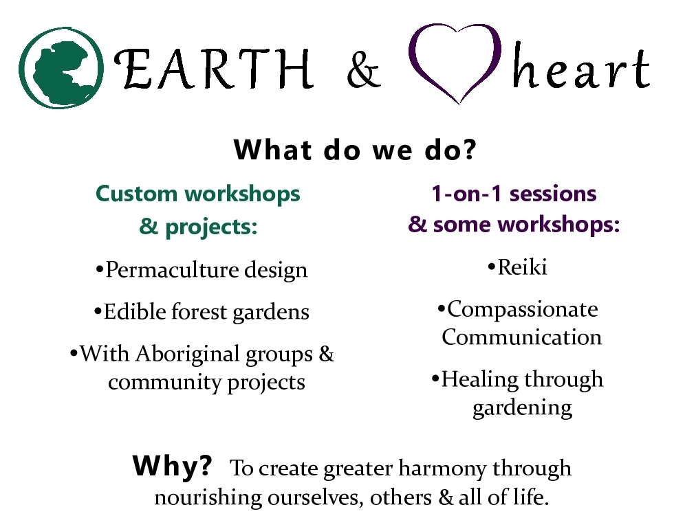 What do we do? Custom workshops & projects: permaculture design, edible forest gardens, with Aboriginal groups & community projects. One-on-one & workshops: Reiki, compassionate communication, healing through gardening.